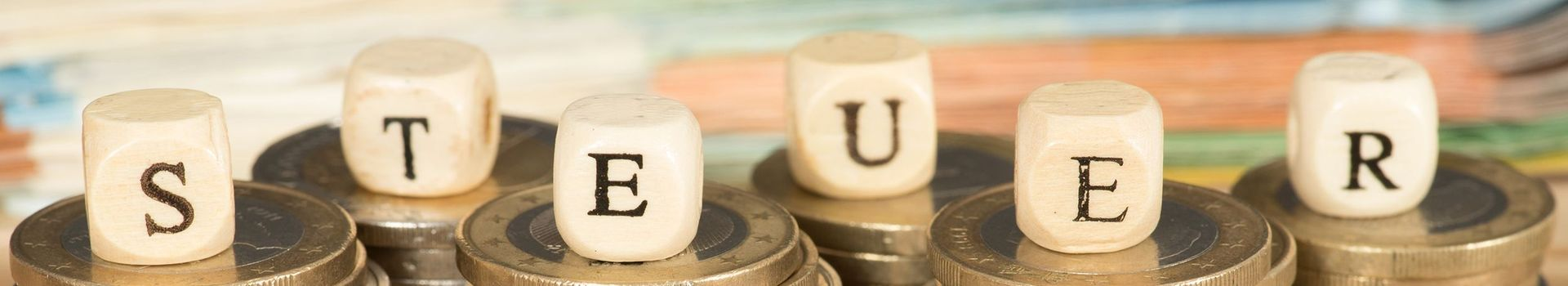 Wood block mit tax letters on top of euro coins